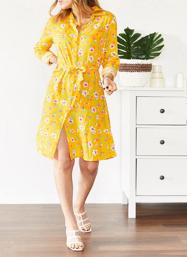 XHAN Çiçek Desenli Gömlek Yaka Elbise 0Yxk6-43567-10 Sarı
